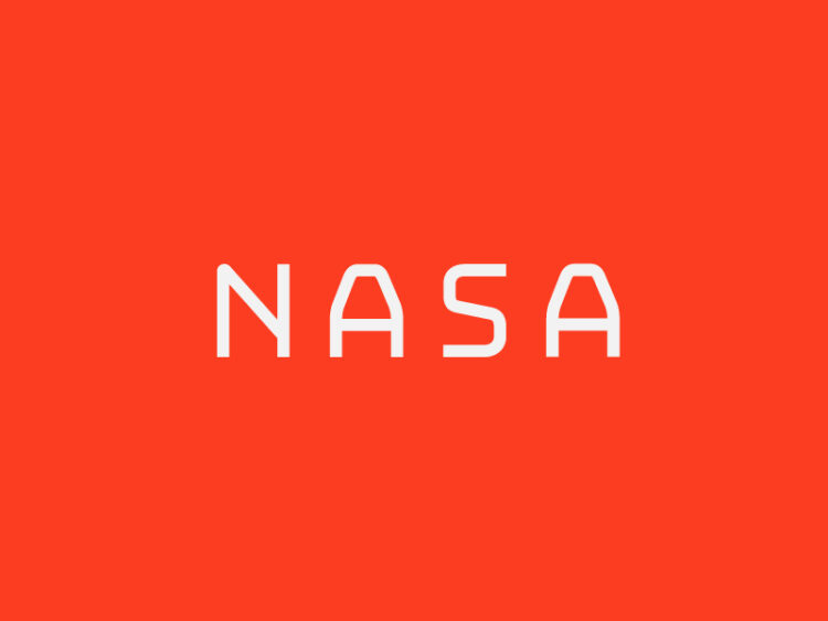 nasa logo rebranding,bright hue on red background.