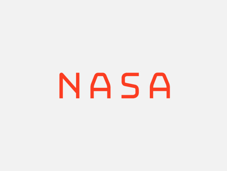 nasa logo rebranding designstudie, red tue on bright background.