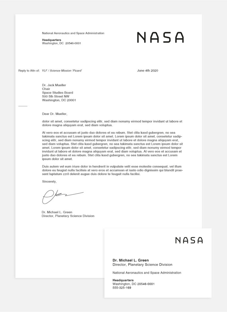 nasa letter and business card- nasa briefkopf und visitenkarte.