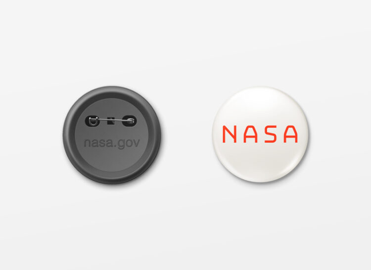 nasa button white background red logo