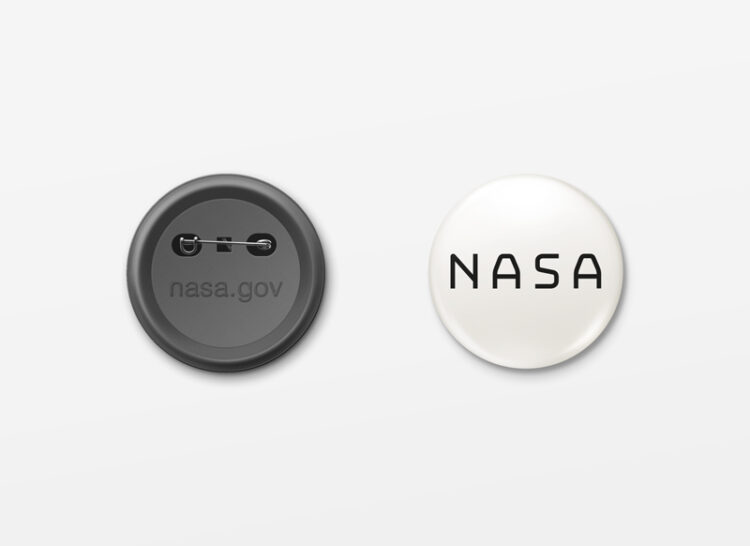 nasa button white background black logo.